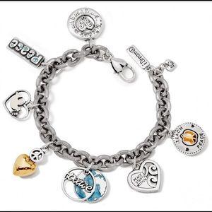 Rare! Brighton Love & Peace Silver Charm Bracelet